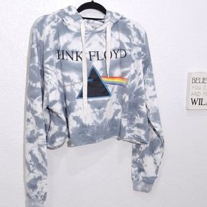 Pink Floyd rock band tie dye crop hoodie New